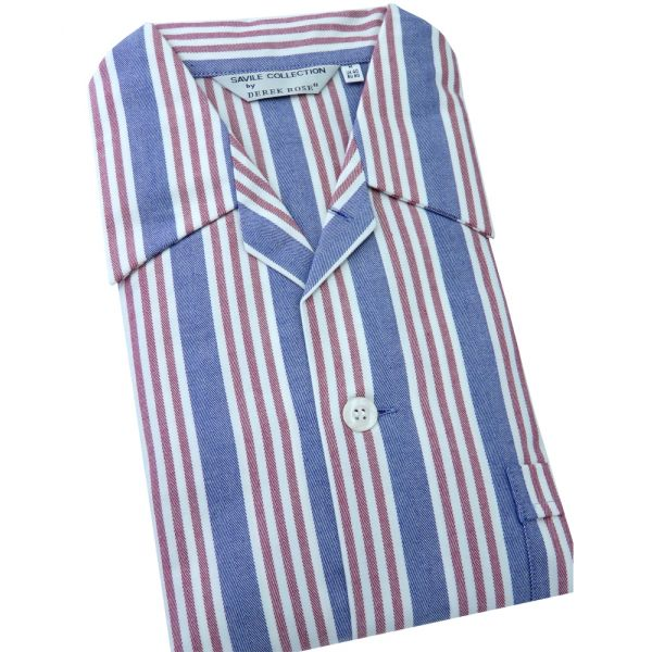 Navy and Red Stripes - Elasticated Waist Brushed Cotton Pyjamas by Derek Rose