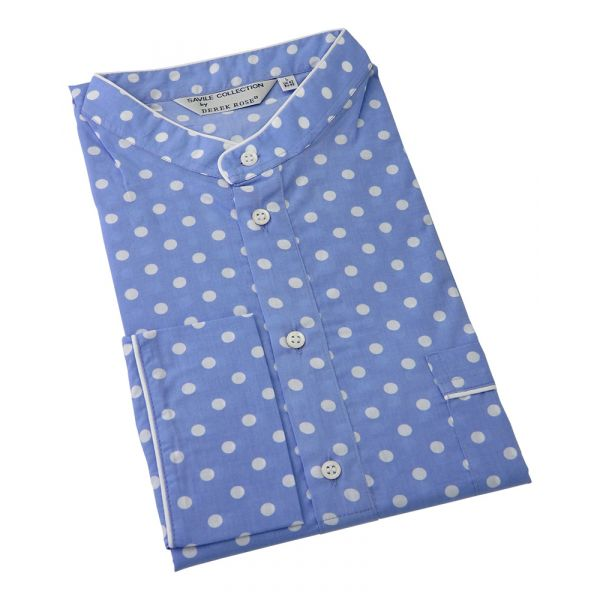 Blue with White Spots -Mens Cotton Nightshirt from Derek Rose