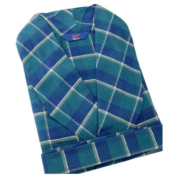 Somax - Mens Dressing Gown in Green Check Brushed Cotton