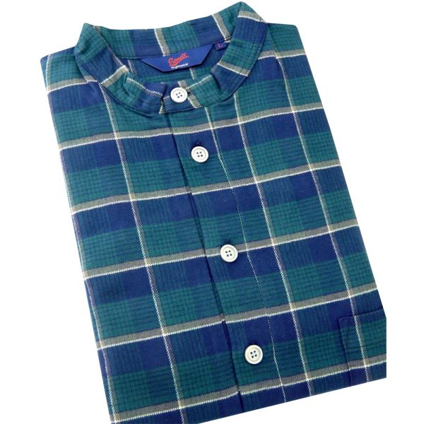 Somax - Mens Nightshirt in Green Check Brushed Cotton