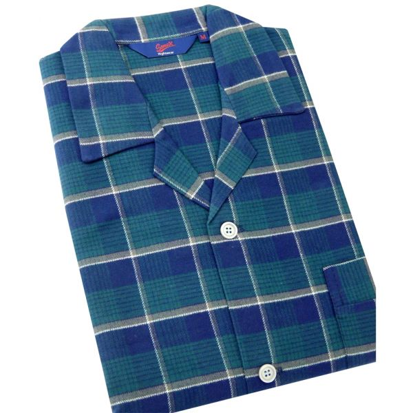 Somax - Mens Pyjamas in Green Check Brushed Cotton