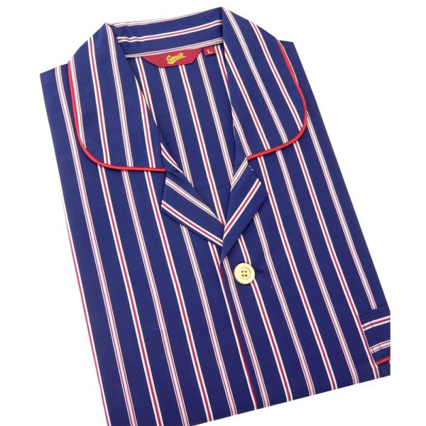 Somax - Mens Cotton Pyjamas in Navy with Satin Stripe