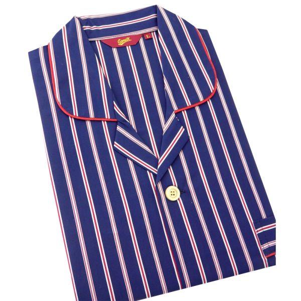 Somax - Mens Cotton Pyjamas in Navy with Satin Stripe