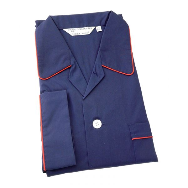 Derek Rose Navy Blue Cotton Pyjamas with Tie Waist