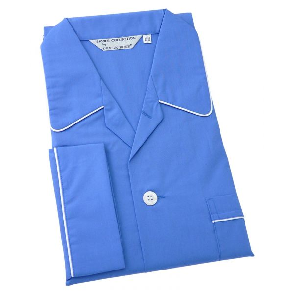 Derek Rose Saxe Blue Cotton Pyjamas with Tie Waist
