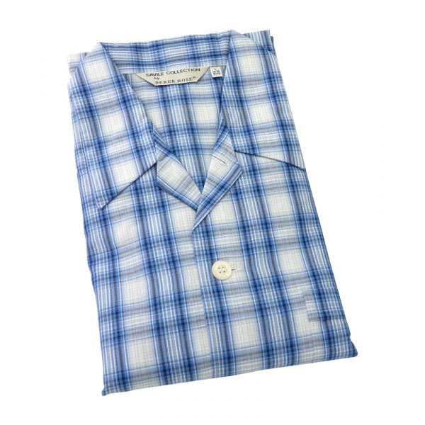 Derek Rose - Kansas 63 - Mens Cotton Pyjamas in Blue Check with Elastic Waist