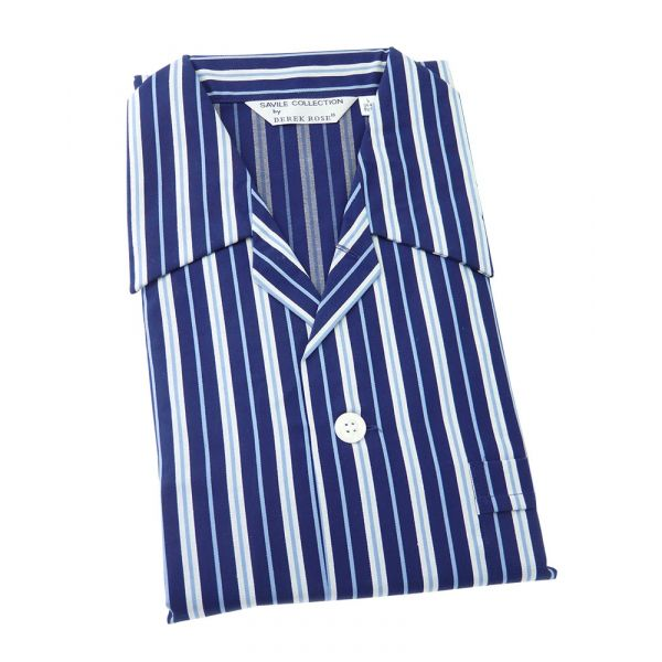 Derek Rose Dark Blue with Light Blue Stripes Cotton Pyjamas with Tie Waist