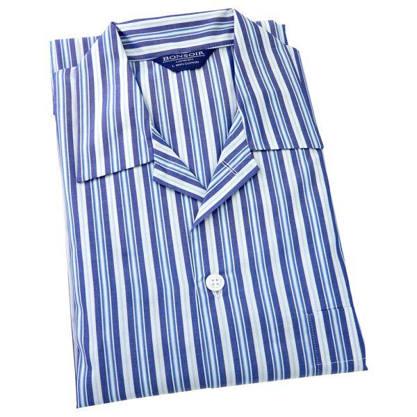 Mens Cotton Pyjamas - Multi Blue and White Striped from Bonsoir of London