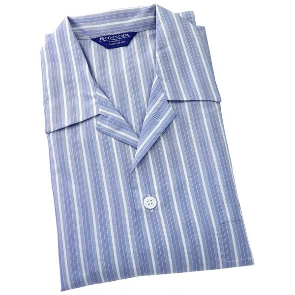 Mens Cotton Pyjamas - Navy and White Fancy Stripe from Bonsoir of London