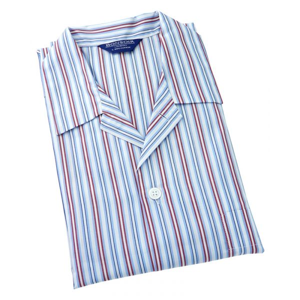 Mens Cotton Pyjamas - Sky/Navy/Red and White Stripe from Bonsoir of London