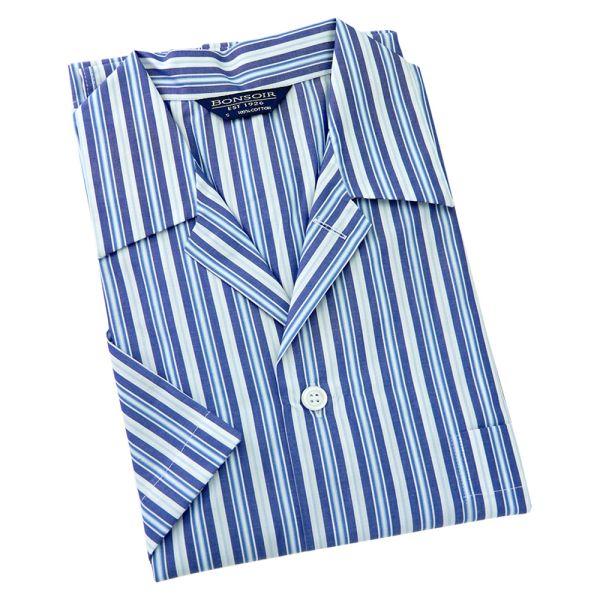 Mens Cotton Shortie Pyjamas - Blue and White Stripe from Bonsoir of London