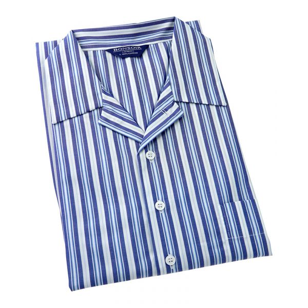 Mens Classic Collar Cotton Nightshirt - Multi Blue and White Stripe from Bonsoir of London