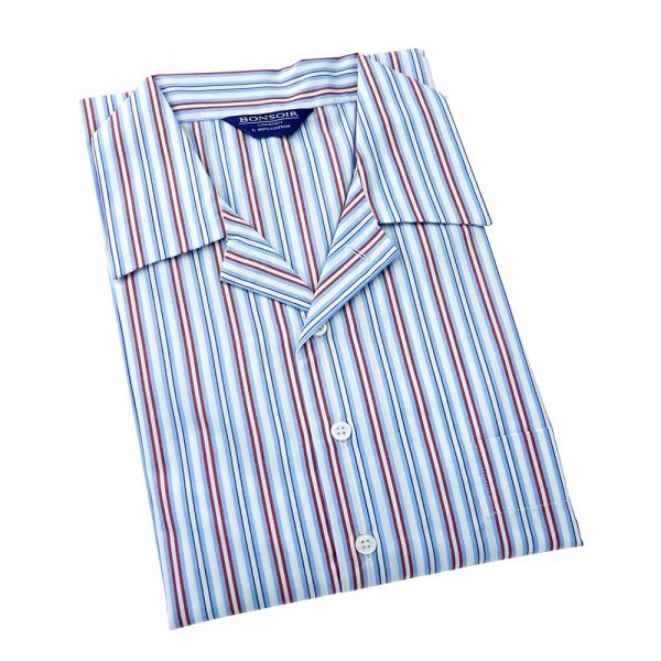 Mens Classic Collar Cotton Nightshirt - Sky/Navy/Red and White Stripe from Bonsoir of London