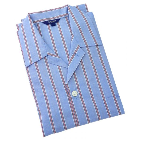 Mens Cotton Linen Blend Pyjamas in Sky with Red Stripe Fabic from Bonsoir of London
