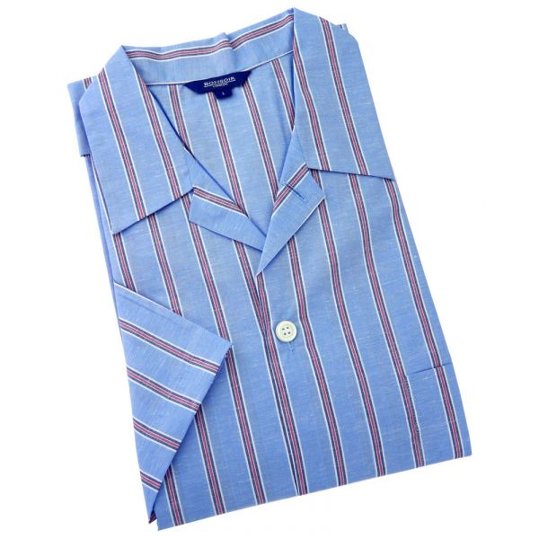 Mens Shortie Pyjamas, Cotton Linen Blend in a Sky with Red Stripe Fabic from Bonsoir of London