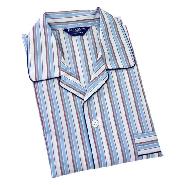Pale Blue/White/Red Stripe- Elastic Waist 2 fold Pyjamas from Bonsoir of London