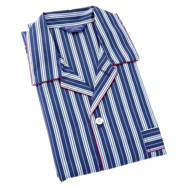Navy with White textured stripes and a Red Piping.  Two Fold Cotton Pyjamas with Tie Waist from Bonsoir of London