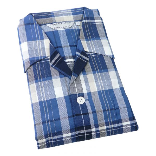 Derek Rose. Mens Tie Waist Brushed Cotton Pyjamas in Blue and White Check
