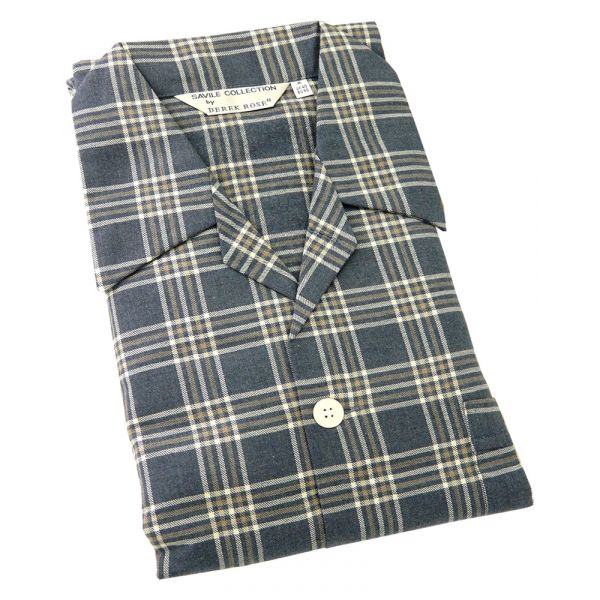 Derek Rose. Mens Tie Waist Brushed Cotton Pyjamas in Brown and Navy Check