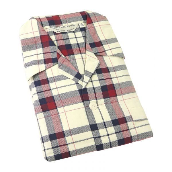 Derek Rose. Mens Tie Waist Brushed Cotton Pyjamas in Warm Red and Cream Check