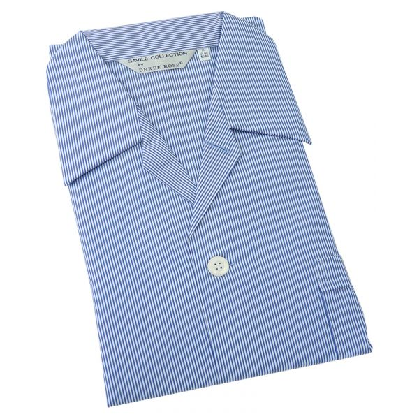 Derek Rose. Mens Tie Waist Cotton Pyjamas in Fine Royal Blue and White Stripe