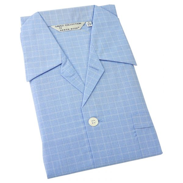 Derek Rose. Mens Tie Waist Cotton Pyjamas in Blue with White Grid and Dots