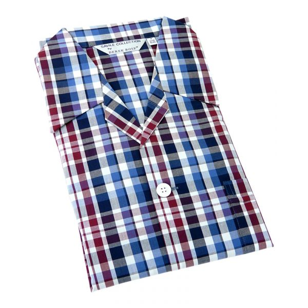 Derek Rose. Mens Tie Waist Cotton Pyjamas in Blue Plum and White Check