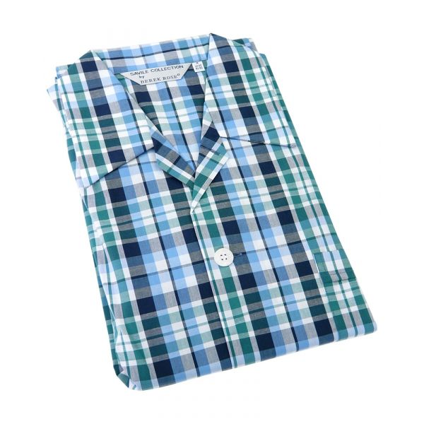 Derek Rose. Mens Tie Waist Cotton Pyjamas in Blue Green and Grey Check