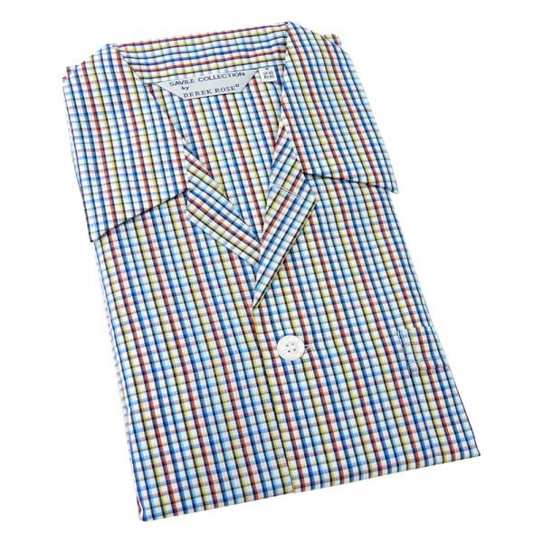 Derek Rose. Mens Tie Waist Cotton Pyjamas in Bright Multi Check