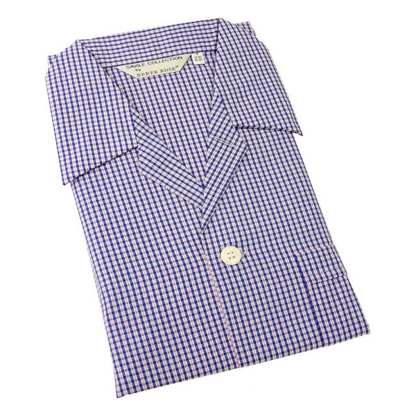 Derek Rose. Mens Tie Waist Cotton Pyjamas in Navy and Pink Small Check