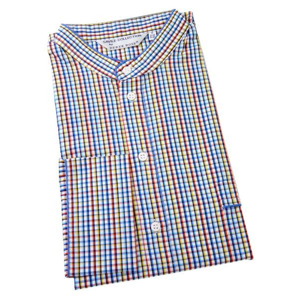 Derek Rose. Mens Grandad Collar Cotton Nightshirt in Bright Multi Check
