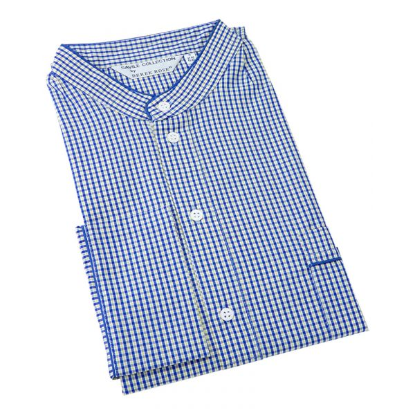 Derek Rose. Mens Grandad Collar Cotton Nightshirt in Blue and Yellow Small Check