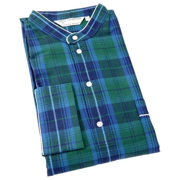Derek Rose. Mens Brushed Cotton Nightshirt in Rich Green and Navy Check