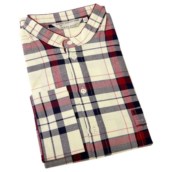Derek Rose. Mens Brushed Cotton Nightshirt in Warm Red and Cream Check