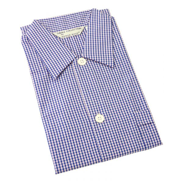 Derek Rose. Mens Open Front Cotton Nightshirt in Navy and Pink Small Check