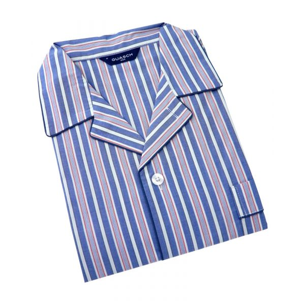 Guasch - Mens Cotton Pyjamas in Navy White and Red Stripe
