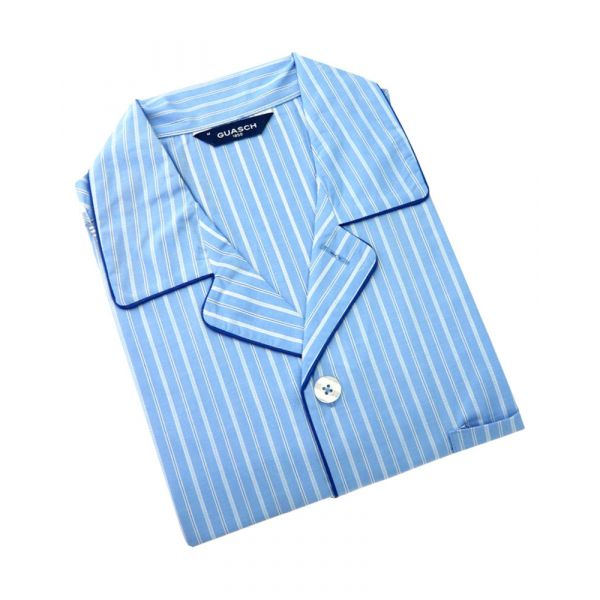 Guasch - Mens Cotton Pyjamas in Bright Blue Stripe