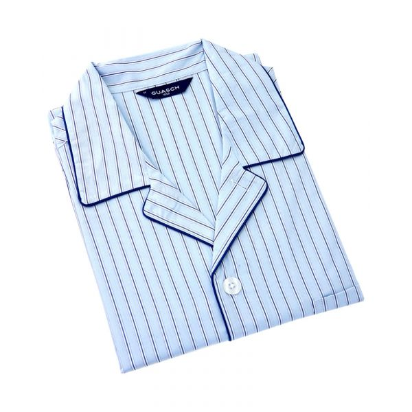Guasch - Mens Cotton Pyjamas in Light Blue with Navy Stripes