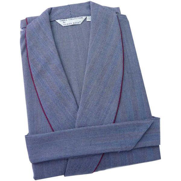 Navy Herringbone Stripe Woolblend Dressing Gown from Derek Rose