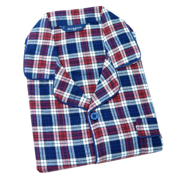 Guasch - Mens Brushed Cotton Pyjamas in Navy and Red Check