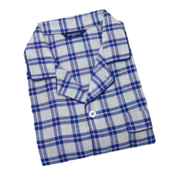 Guasch - Mens Brushed Cotton Pyjamas in Light Grey and Blue Check