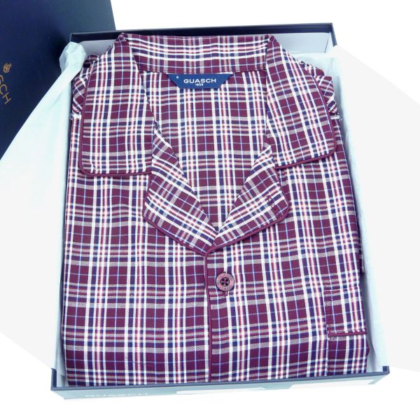 Guasch - Mens  Cotton Pyjamas in Wine Check