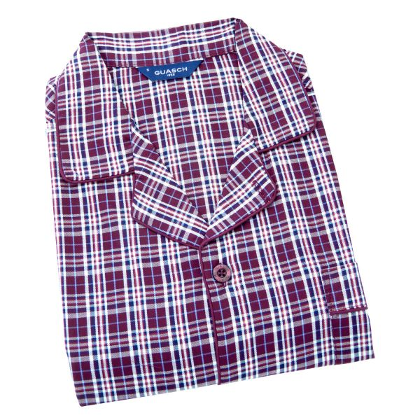 Guasch - Mens  Cotton Pyjamas in Wine Check