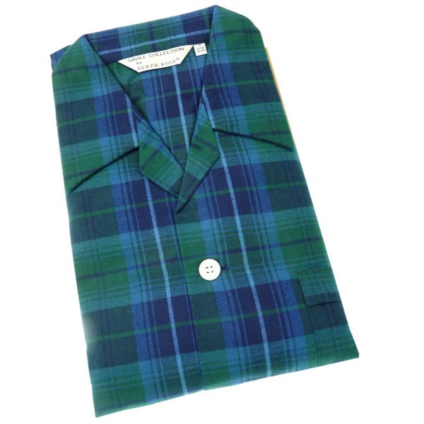 Derek Rose. Mens Tie Waist Brushed Cotton Pyjamas in Green and Navy Check