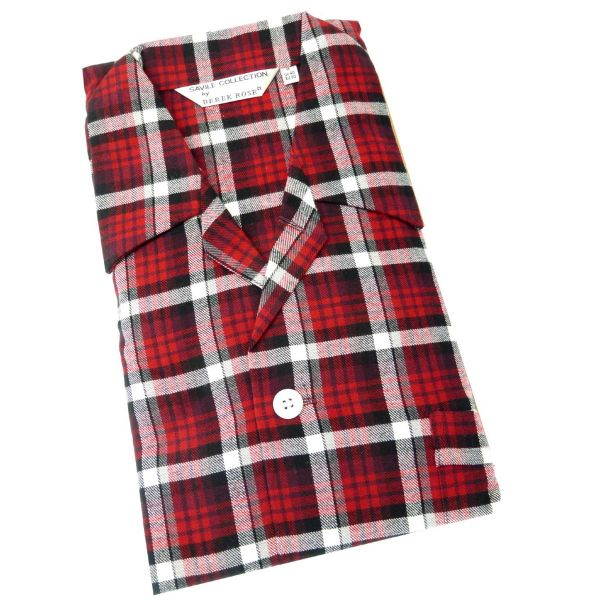 Derek Rose. Mens Tie Waist Brushed Cotton Pyjamas in Warm Red