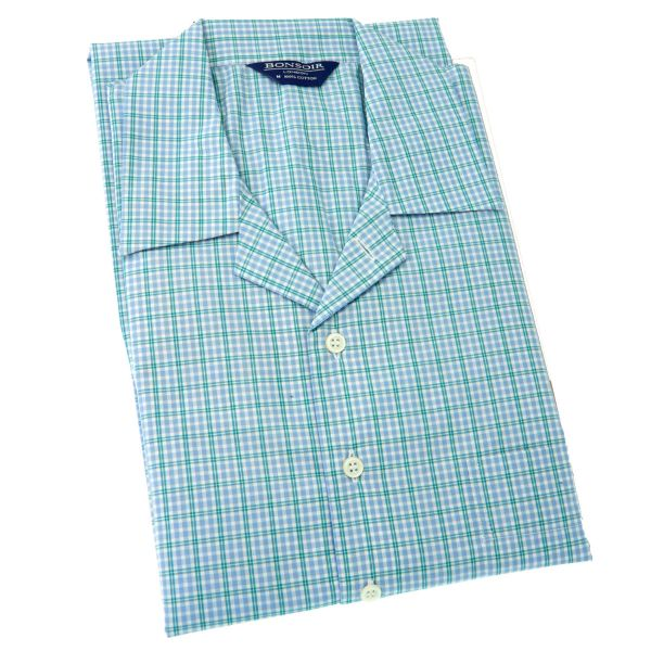 Mens Classic Collar Cotton Nightshirt - Sky with Green Overcheck from Bonsoir of London