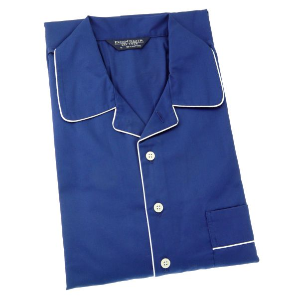 Mens Classic Collar Cotton Nightshirt - Plain Colour with Piping from Bonsoir of London