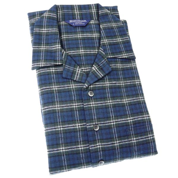 Mens Classic Brushed Cotton Nightshirt - Lorton - from Bonsoir of London