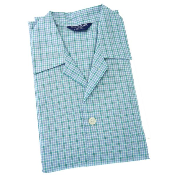 Mens Cotton Pyjamas – Sky and Green Check – from Bonsoir of London