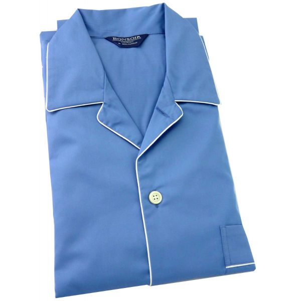 Mens Cotton Pyjamas – Plain with Piping – from Bonsoir of London